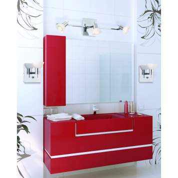 Red cabinetry makes a daring design statement in a contemporary bathroom design!