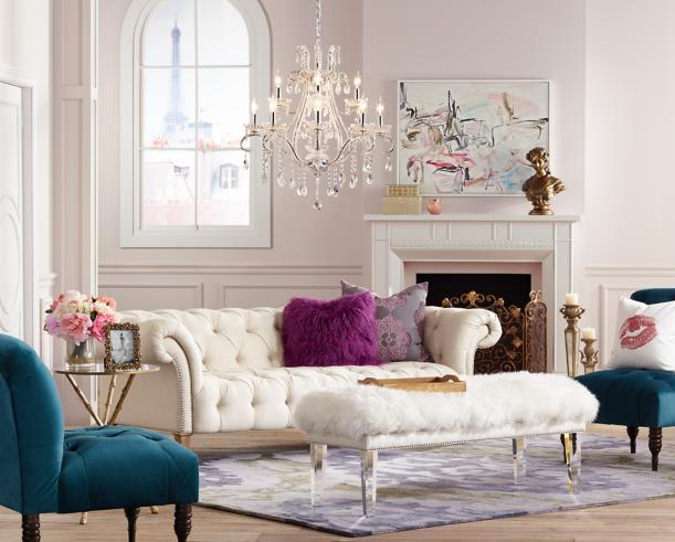 A Romantic Living Room Inspired By Posh Parisian Furniture And Lighting Room Inspiration