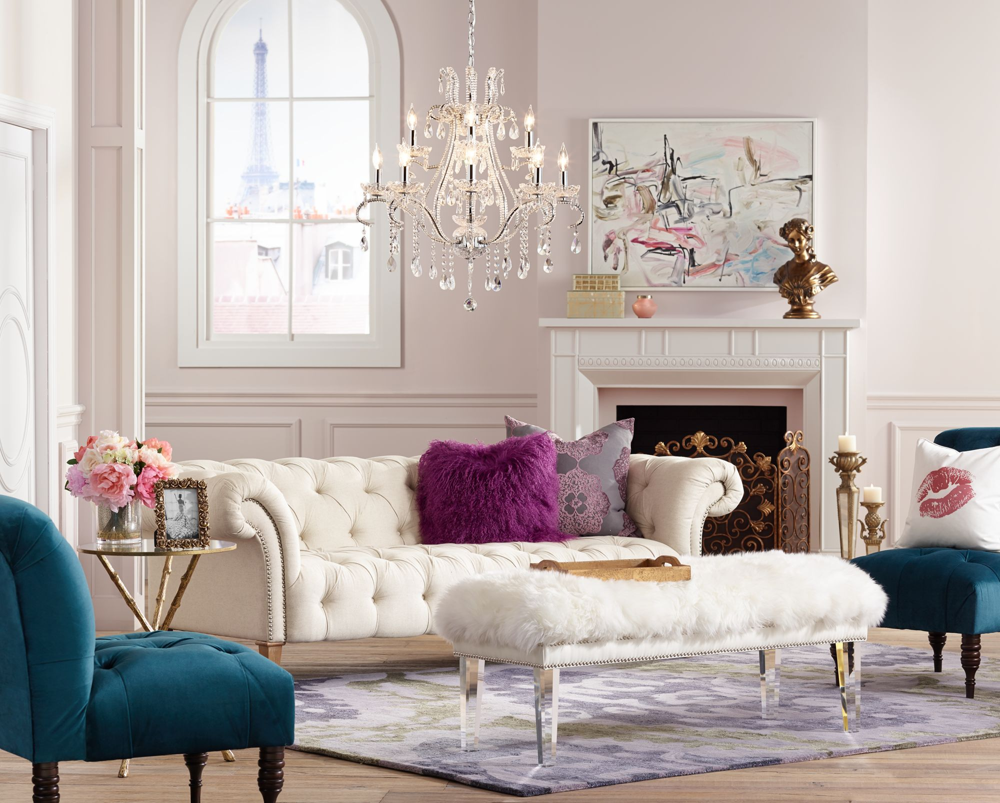 A Romantic Living Room Inspired By Posh Parisian Furniture And Lighting. Part 69