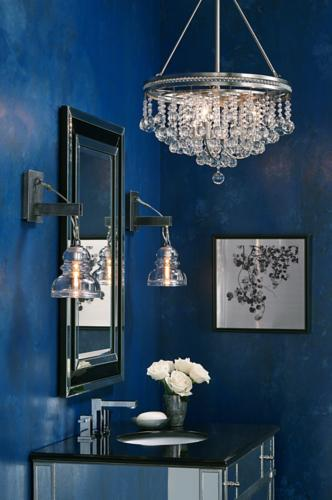 crystal chandelier, blue wall, wall art, bathroom vanity, wall mirror