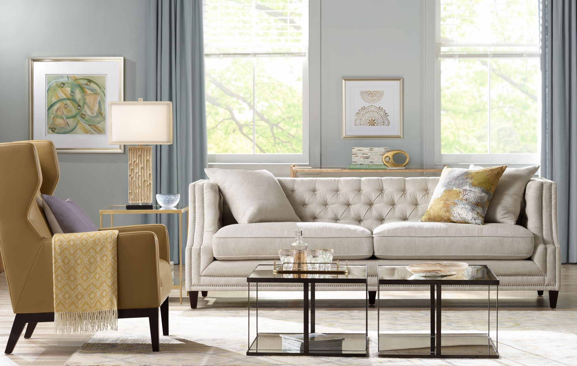 A Chateau Sofa In Linen Anchors This Casual Stylish Living Room.