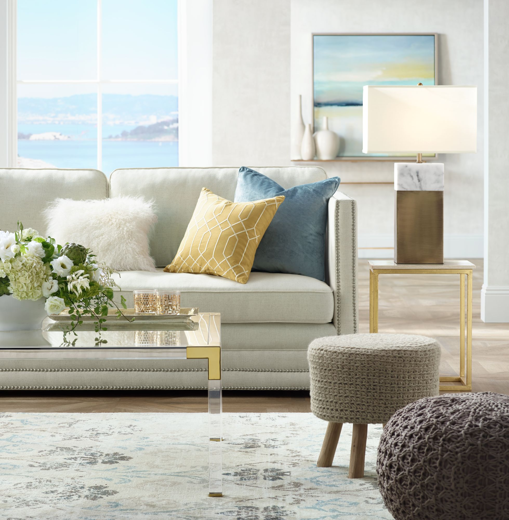 Use Pouf Ottomans To Add Texture And Alternate Seating To A Living Room.