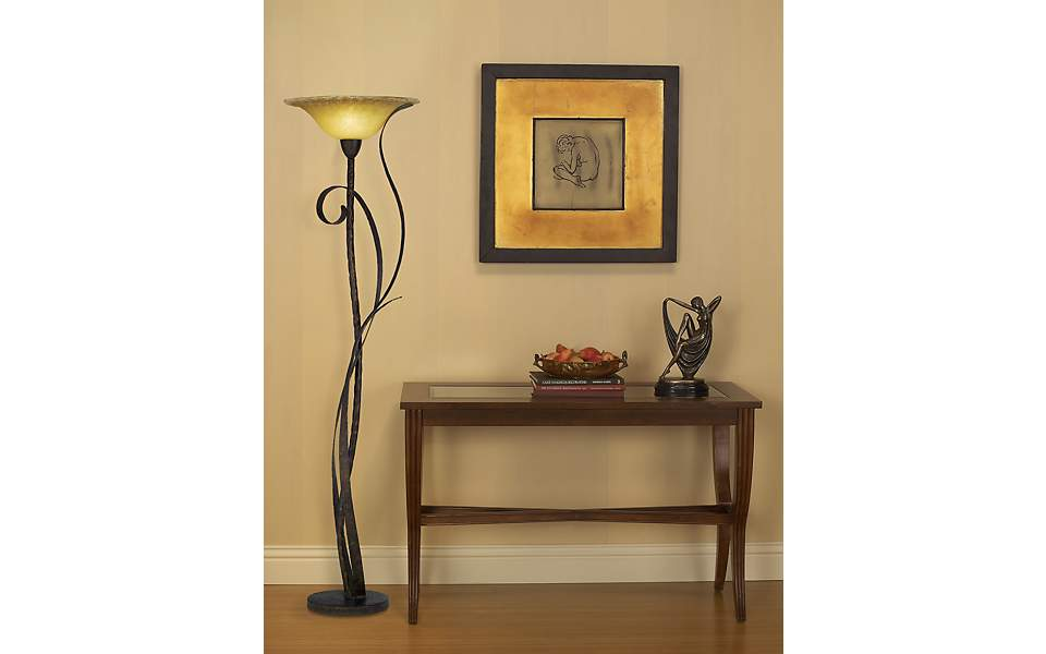 console table, floor lamp, living room, visual interest