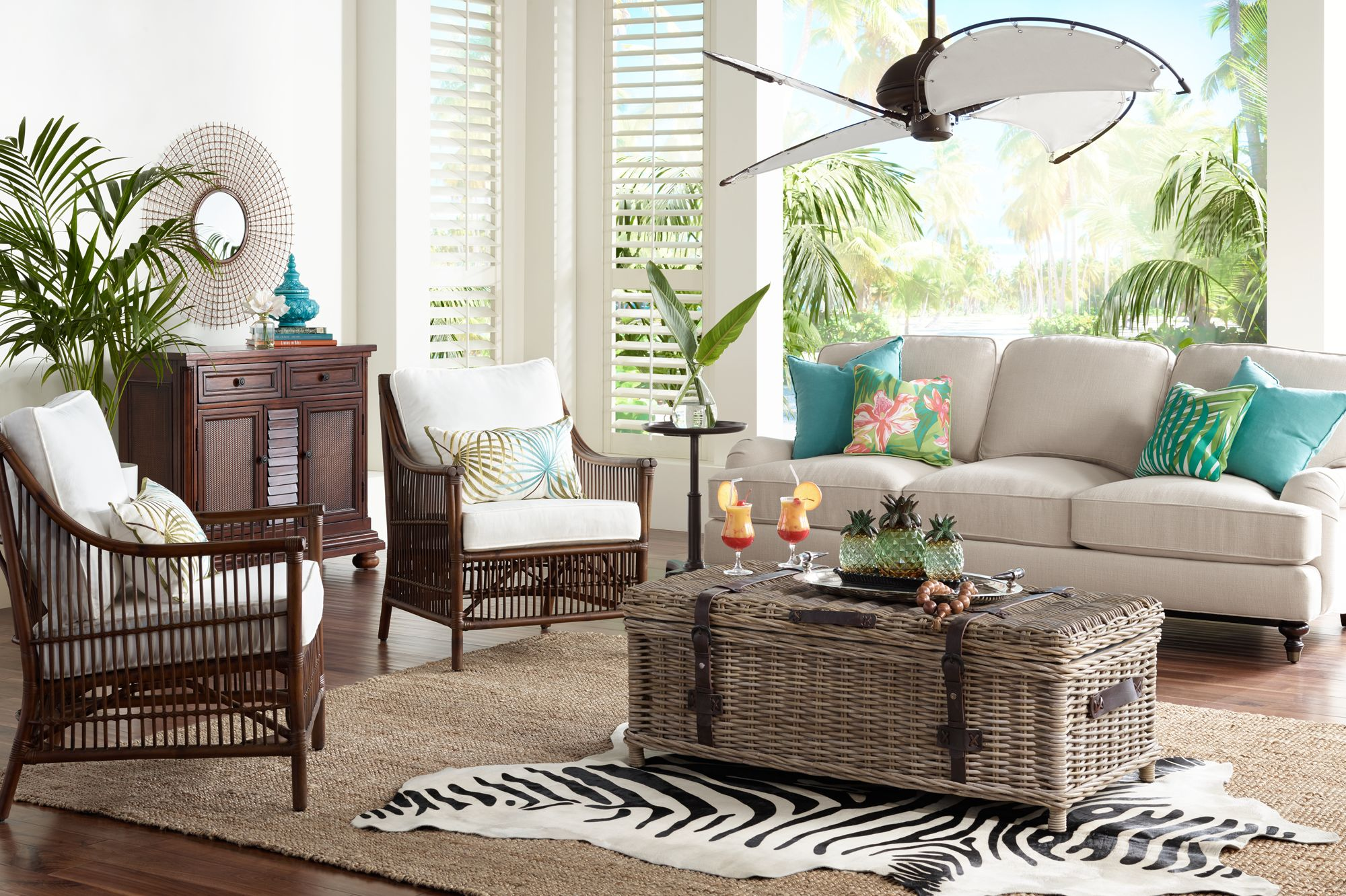 Cool And Breezy Tropical Style With A Rattan Chair And Canvas Blade Fan. Part 72