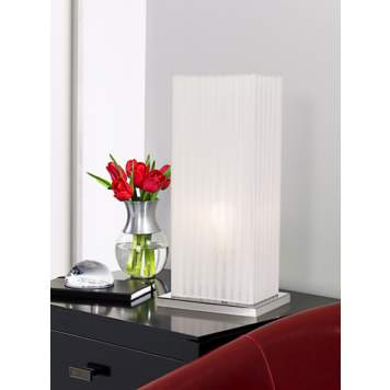 This contemporary column table lamp has a modern, architectural feel.