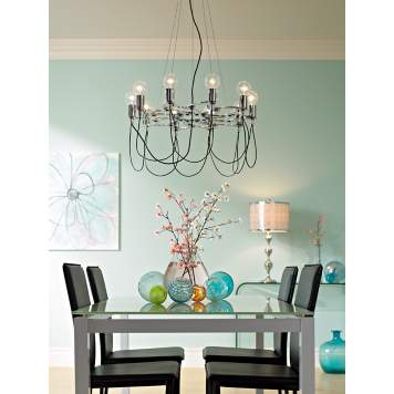 Clear and colored glass lighting and decor creates a Contemporary Clarity look.