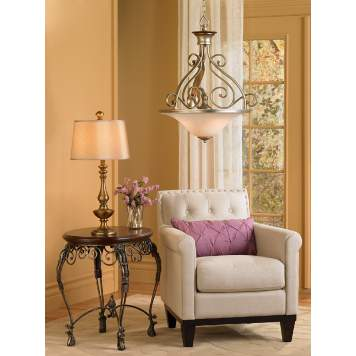 The calming contemporary living room scene is accented with lavender accents.