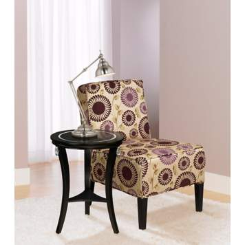 A vibrant retro patterned chair makes a modern room pop.