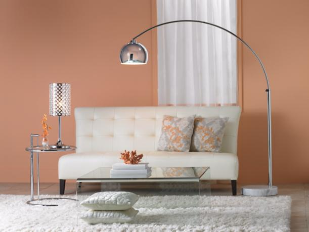 chrome table lamp, standout piece, coral and white, wool ivory rug