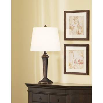 This traditional wood table lamp picture features a handsome accent lamp.