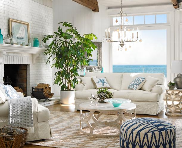 A Cool And Collected Oceanside Living Room Full Of Calming