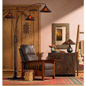 Arts and crafts mission lighting and decor ideas shop by room at lamps plus for Mission style decorating living room
