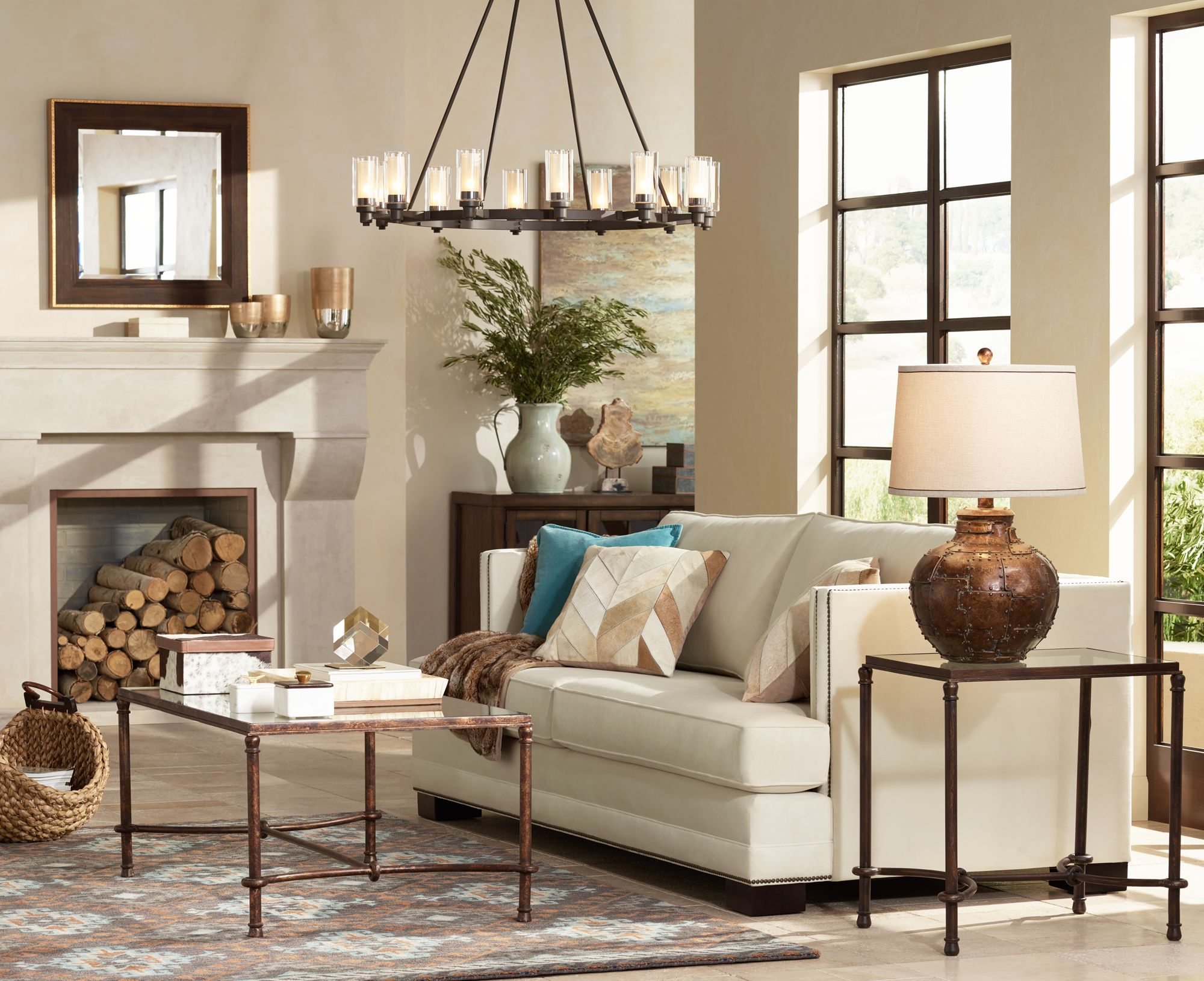 A Large Chandelier Anchors A Cozy Living Room With Rustic Touches.