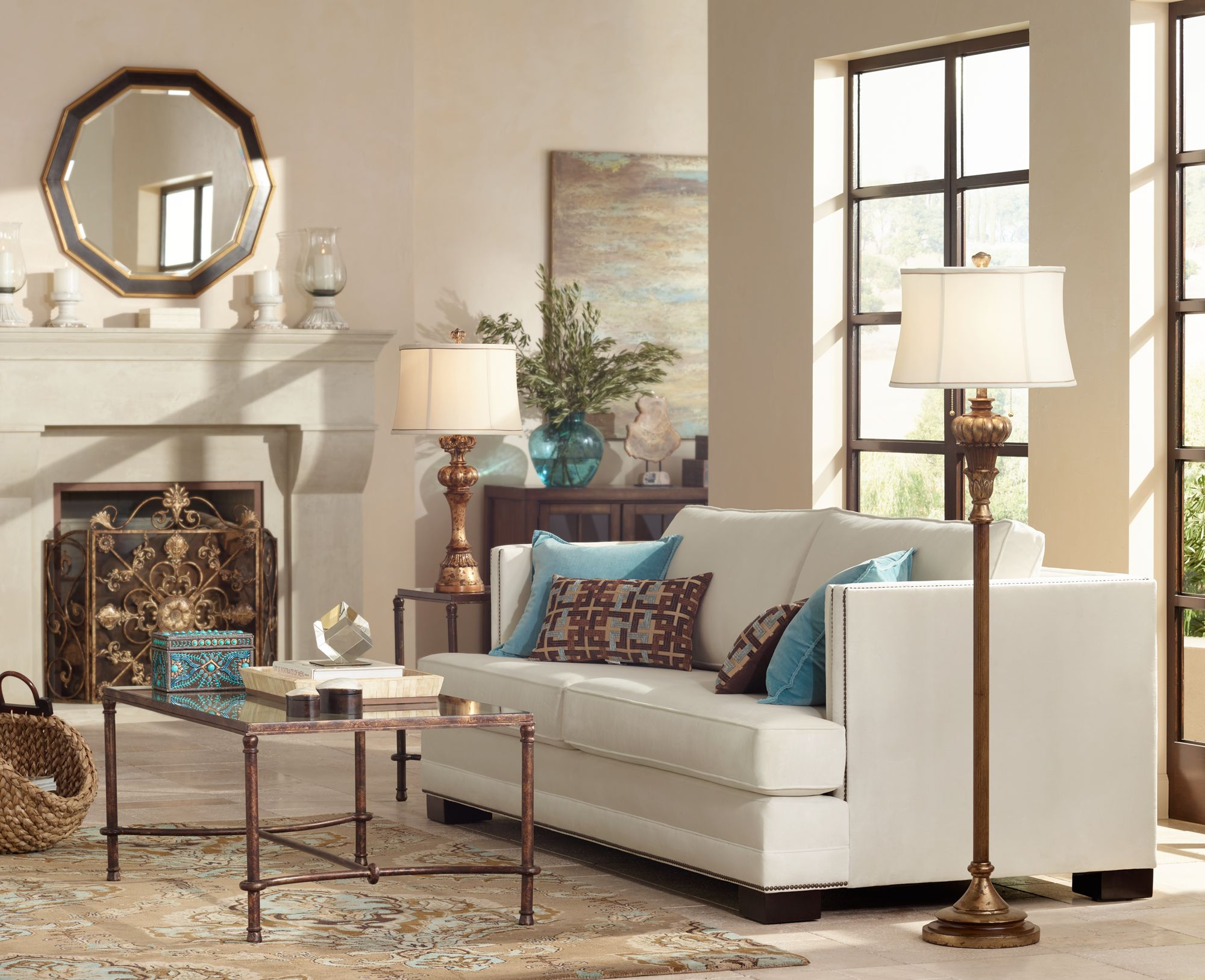Trend Idea: Stylish Gold Finishes Lend A Living Room An Elegant Glow.