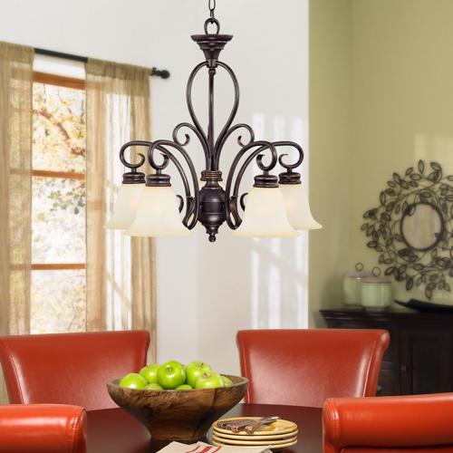 dining room, downlight chandelier, table