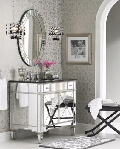 bath lighting, mirrored furniture, chrome