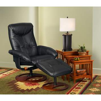 A transitional living room picture with a black leather recliner.