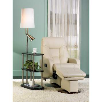 A contemporary glider recliner is a modern take on a retro design.