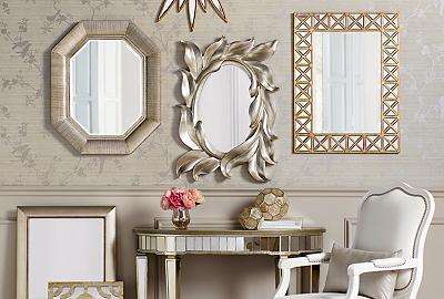 Reflect your style with wall mirrors and mirrored furniture.