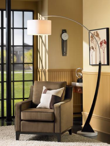 arc floor lamp, living room, corner