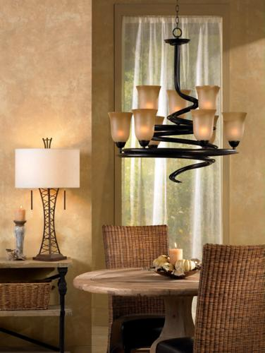 chandelier is a transitional dining room decorating idea room