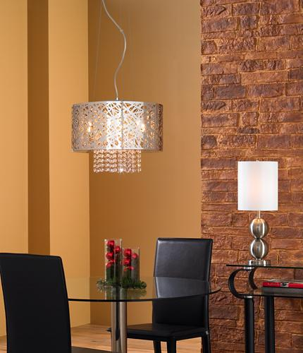 Modern chandelier with metal and crystal.