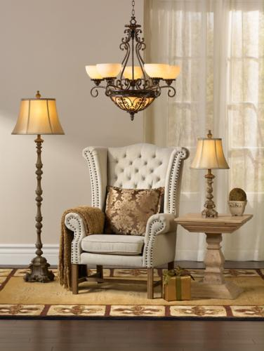Chandelier, table lamp, and floor lamp in living room design.