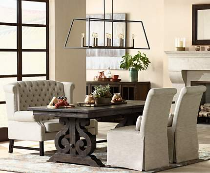 An Alternative To Formal Dining Seating A Tall Back Tufted Bench