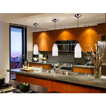 Kitchen mini pendant lights offer bright illumination and uncluttered style.