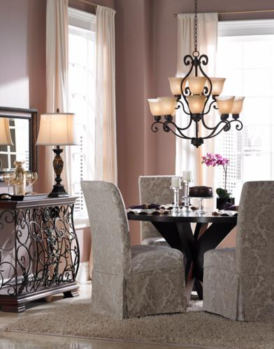 Dining room inspired by a French salon design.
