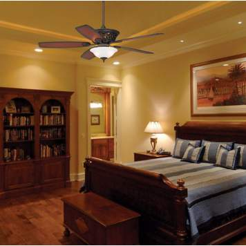 The variety of light fixtures in the masculine bedroom creates a dynamic design.