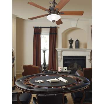 Outfit your traditional game room with a handsome ceiling fan design.