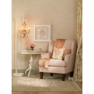 A color palette of soft pink and antique white captures country cottage style.