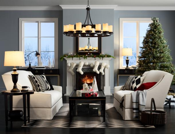 Happy holiday living room with white sofas.