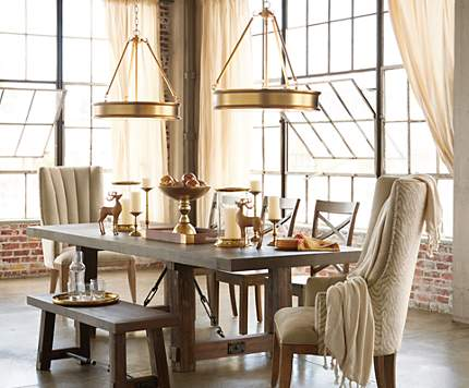 A Duo Of Pendant Lighting Is Twice As Nice In This Loft Dining Room
