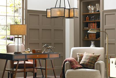Curl up with a classic in cozy, transitional style.