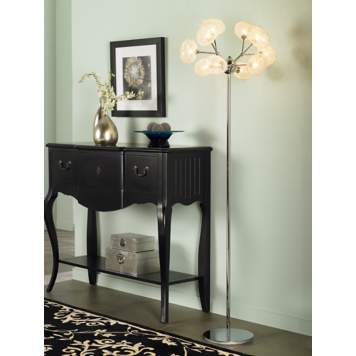 Incorporate a mod contemporary lamp to add a punch to a transitional hallway!