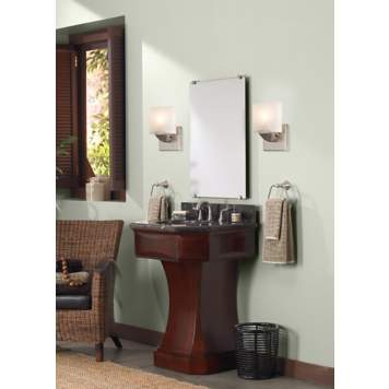 An Asian-inspired vanity takes center stage in this contemporary bathroom!