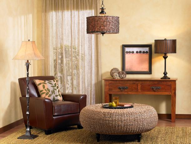 organic elements, rich brown chair, wood console table, sisal rug, table lamp