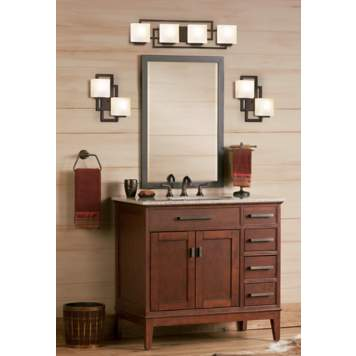 Chic square sconces make beautiful contemporary bathroom lighting.