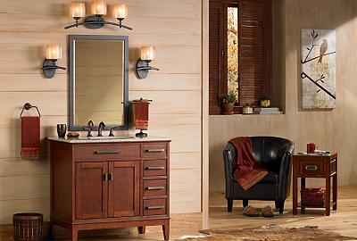 A classic Mission style vanity looks timeless in this bathroom picture.