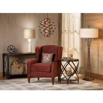 The rustic vintage living room is accented with dynamic furnishings.