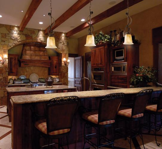 Rustic lodge kitchen decorating idea.