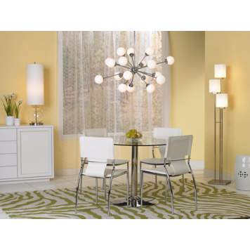 The opal glass pendant chandelier takes center stage in the city chic scene.