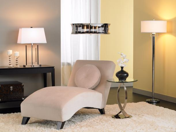 The soft curved lines of the chaise and end table create for Table lamps for living room modern