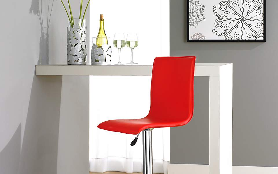 Contemporary red leather bar stool design.