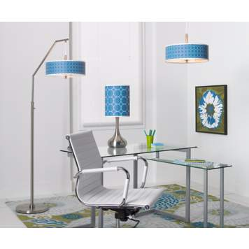 A colorful modern office space with custom-printed giclee lighting and wall art.