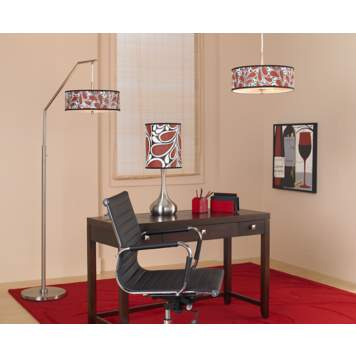 A home office decortaing idea with bright, custom-made giclee lighting.