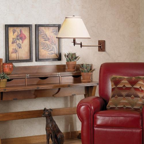 rustic seating area, living room, swing arm wall lamp