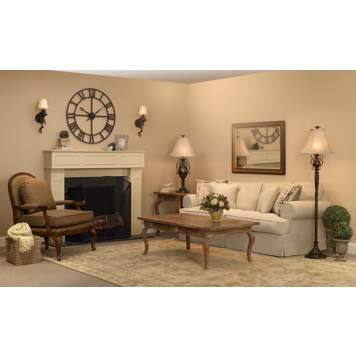 Lounge by the fire in this warm and comfortable living room scene.